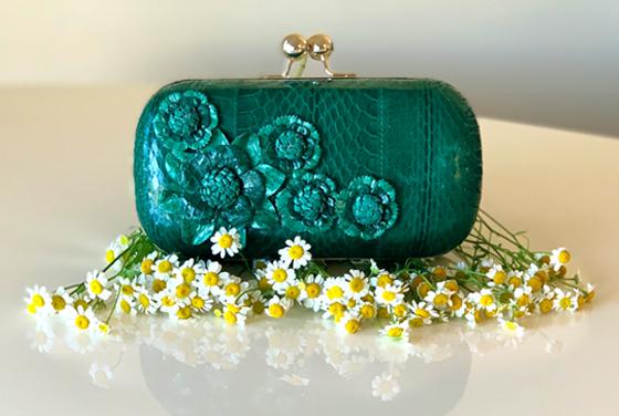 Fleur snakeskin minaudiere in emerald green
