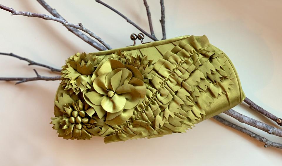 Zena wood flap clutch