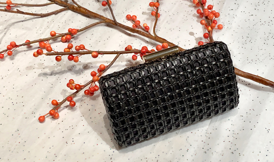 THELMA Black woven phone friendly minaudiere clutch bag