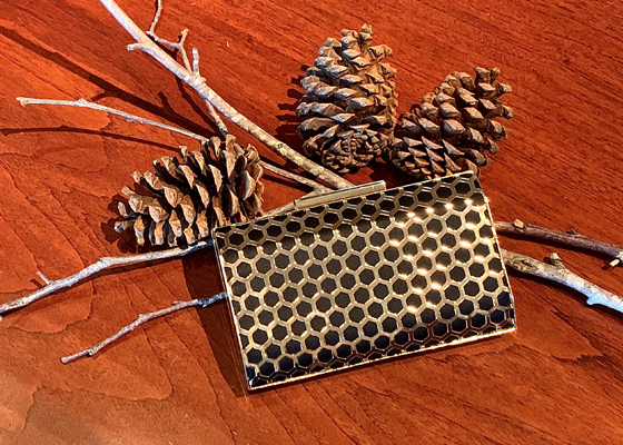 ROMA Gold metal minaudiere box clutch with honeycomb cutout patterns